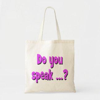 Do you speak ...? Basic purple Tote Bag