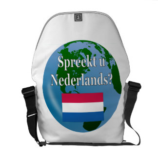 Do you speak Dutch? in Dutch. Flag & globe Courier Bag