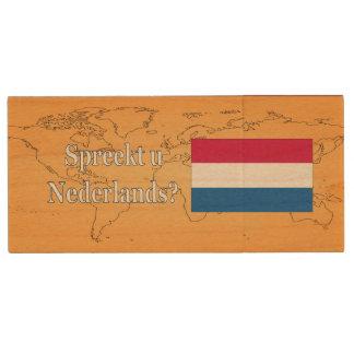 Do you speak Dutch? in Dutch. wf Wood USB 2.0 Flash Drive