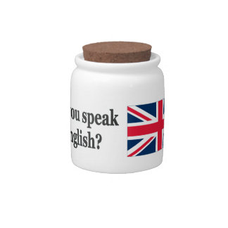 Do you speak English? in English. Flag bf Candy Jar