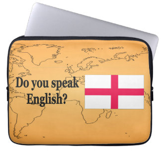 """""""Do you speak English?"""" in English. Flag bf Computer Sleeve"""