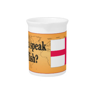 """""""Do you speak English?"""" in English. Flag bf Drink Pitcher"""