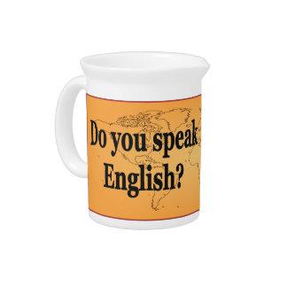 Do you speak English? in English. Flag bf Beverage Pitchers