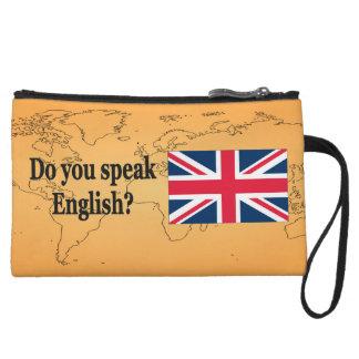 Do you speak English? in English. Flag bf Wristlet