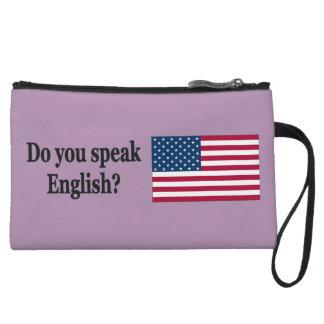 Do you speak English? in English. Flag bf Wristlet Wallet