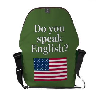 """""""Do you speak English?"""" in English. Flag Courier Bag"""