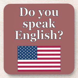 """Do you speak English?"" in English. Flag Drink Coaster"