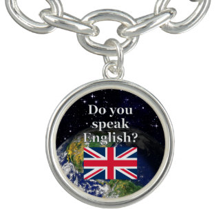 """Do you speak English?"" in English. Flag & Earth Bracelet"