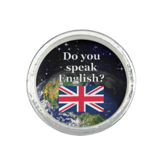 """""""Do you speak English?"""" in English. Flag & Earth Photo Rings"""
