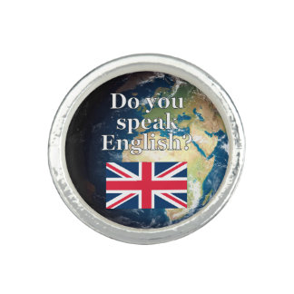 """""""Do you speak English?"""" in English. Flag & Earth Ring"""