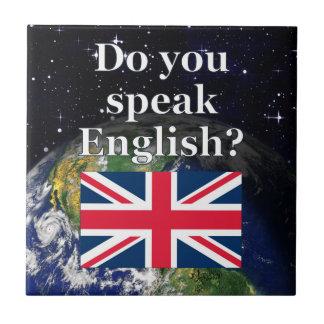 """Do you speak English?"" in English. Flag & Earth Tile"