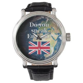 """Do you speak English?"" in English. Flag & Earth Watch"
