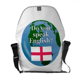 """Do you speak English?"" in English. Flag & globe Messenger Bag"