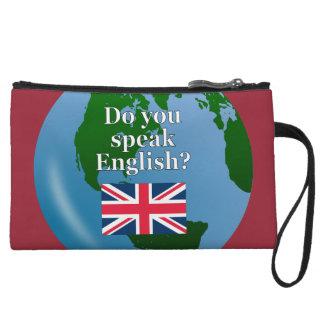 """""""Do you speak English?"""" in English. Flag & globe Wristlet Wallet"""