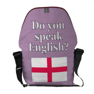 """Do you speak English?"" in English. Flag Messenger Bag"