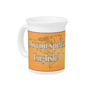 Do you speak English? in English. Flag wf Drink Pitcher
