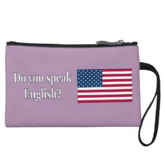Do you speak English? in English. Flag wf Wristlet Wallet