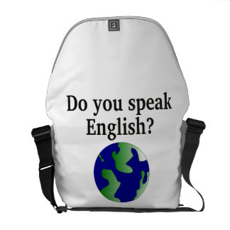 """""""Do you speak English?"""" in English. With globe Courier Bag"""