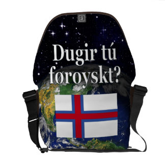 Do you speak Faroese? in Faroese. Flag & space Courier Bag