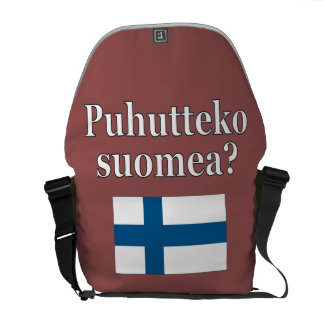 Do you speak Finnish? in Finnish. Flag Courier Bag