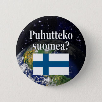Do you speak Finnish? in Finnish. Flag & Earth Button