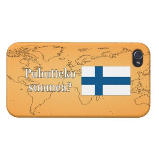 Do you speak Finnish? in Finnish. Flag wf iPhone 4 Case