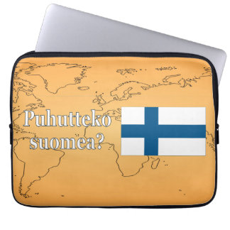 Do you speak Finnish? in Finnish. Flag wf Laptop Sleeve