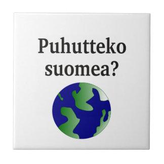 Do you speak Finnish? in Finnish. With globe Ceramic Tile