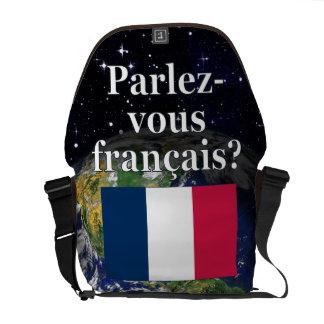 Do you speak French? in French. Flag & Earth Messenger Bag