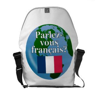 Do you speak French? in French. Flag & globe Messenger Bag