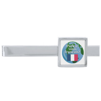 Do you speak French? in French. Flag & globe Silver Finish Tie Clip