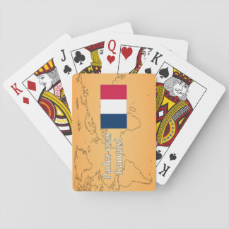 Do you speak French? in French. Flag wf Playing Cards