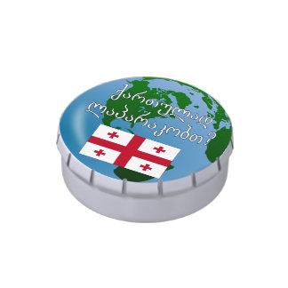 Do you speak Georgian? in Georgian. Flag & globe Candy Tin