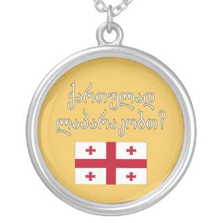 Do you speak Georgian? in Georgian. Flag Silver Plated Necklace