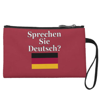 Do you speak German? in German. Flag Wristlet Clutch
