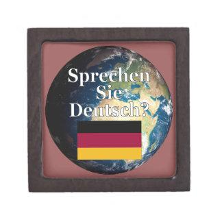 Do you speak German? in German. Flag & Earth Jewelry Box