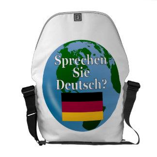Do you speak German? in German. Flag & globe Messenger Bag