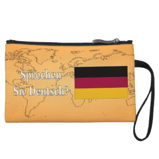 Do you speak German? in German. Flag wf Wristlet Purse