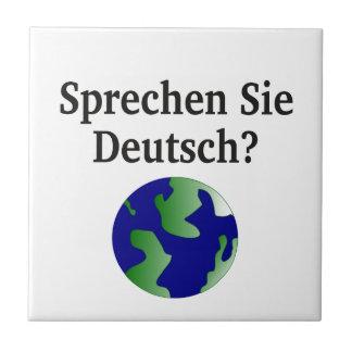 Do you speak German? in German. With globe Tile