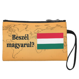 Do you speak Hungarian? in Hungarian. Flag bf Wristlet Clutch