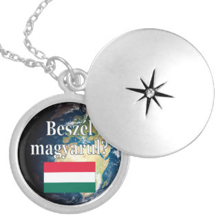 Do you speak Hungarian? in Hungarian. Flag & Earth Silver Plated Necklace