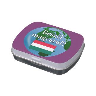 Do you speak Hungarian? in Hungarian. Flag & globe Candy Tin