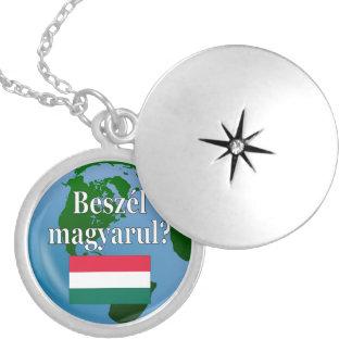 Do you speak Hungarian? in Hungarian. Flag & globe Locket Necklace