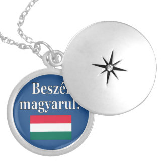 Do you speak Hungarian? in Hungarian. Flag Silver Plated Necklace