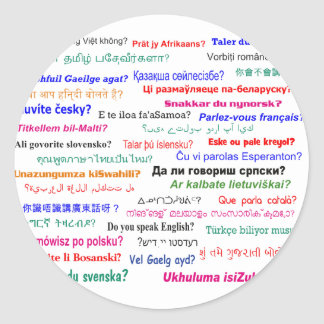 Do you speak ...? in many languages classic round sticker