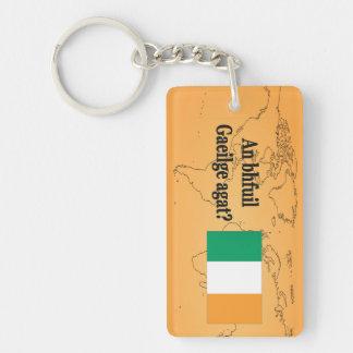 Do you speak Irish? in Irish. Flag bf Keychain