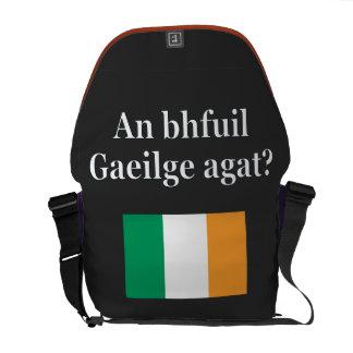 Do you speak Irish? in Irish. Flag Courier Bag