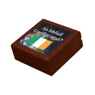 Do you speak Irish? in Irish. Flag & Earth Keepsake Boxes