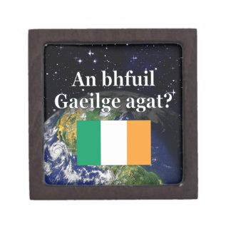 Do you speak Irish? in Irish. Flag & Earth Premium Trinket Boxes