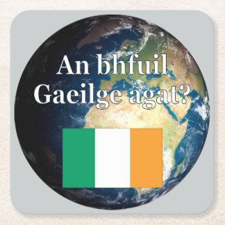 Do you speak Irish? in Irish. Flag & Earth Square Paper Coaster
